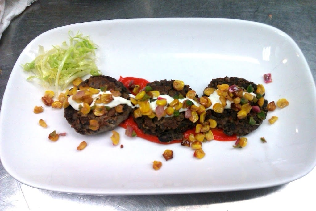 Black Bean Cakes with Red Pepper Coulis and Roasted Corn Salsa