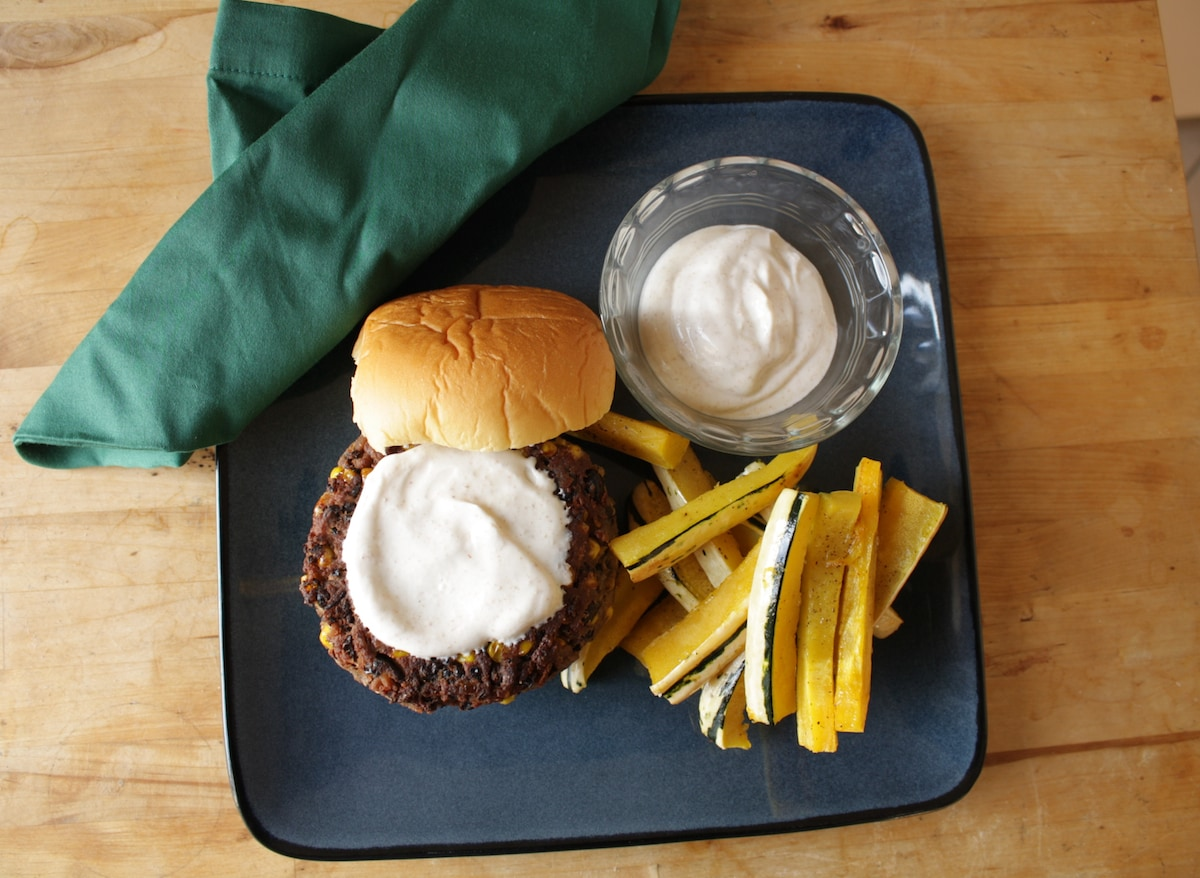Corn and Black Bean Burger with Squash Fries