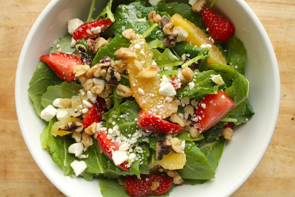 Baby Kale Salad with Fruit, Feta, and Walnuts