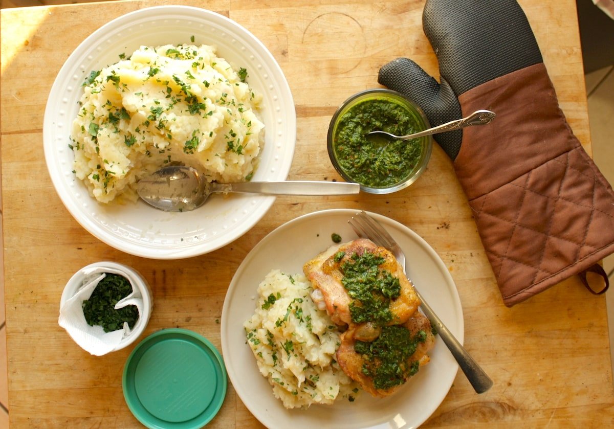 Celery Root Mashed Potatoes and Roasted Chicken with Chimichurri