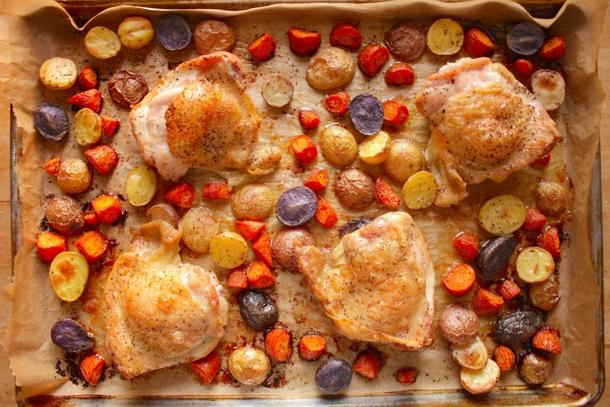 Baked Chicken Thighs and Root Vegetables