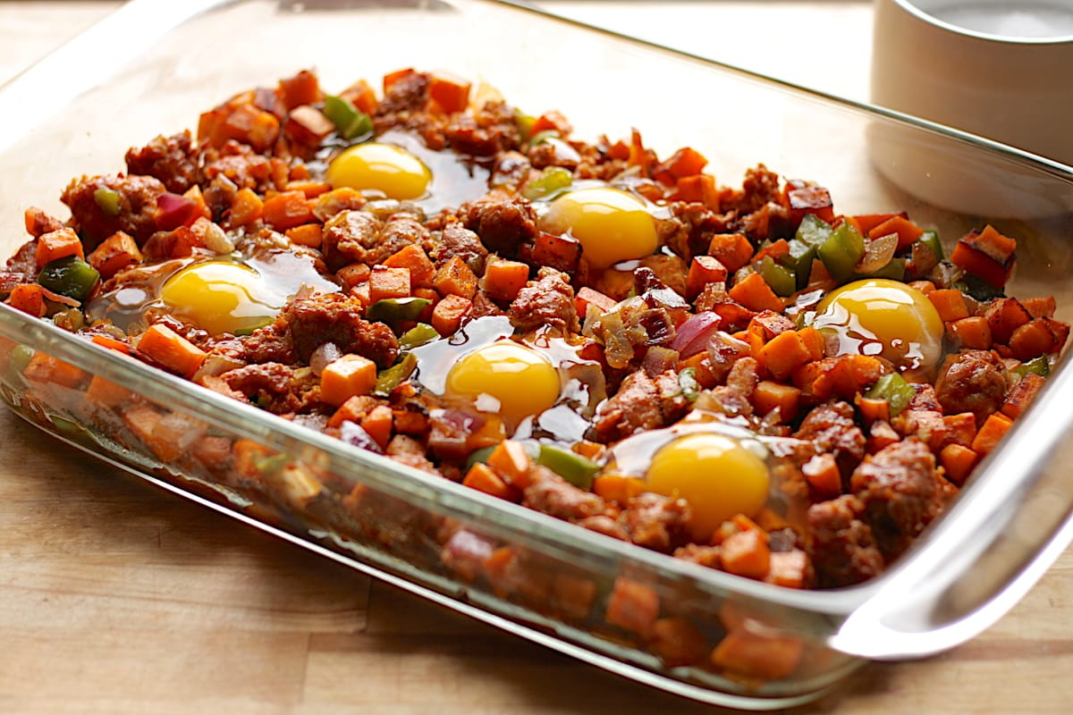 Step 4: Preheat The Oven To 375�f Make Small Divots In The Hash Mixture  And Crack The Eggs On Top; Sprinkle The Eggs With Some Salt Bake Until The  Egg