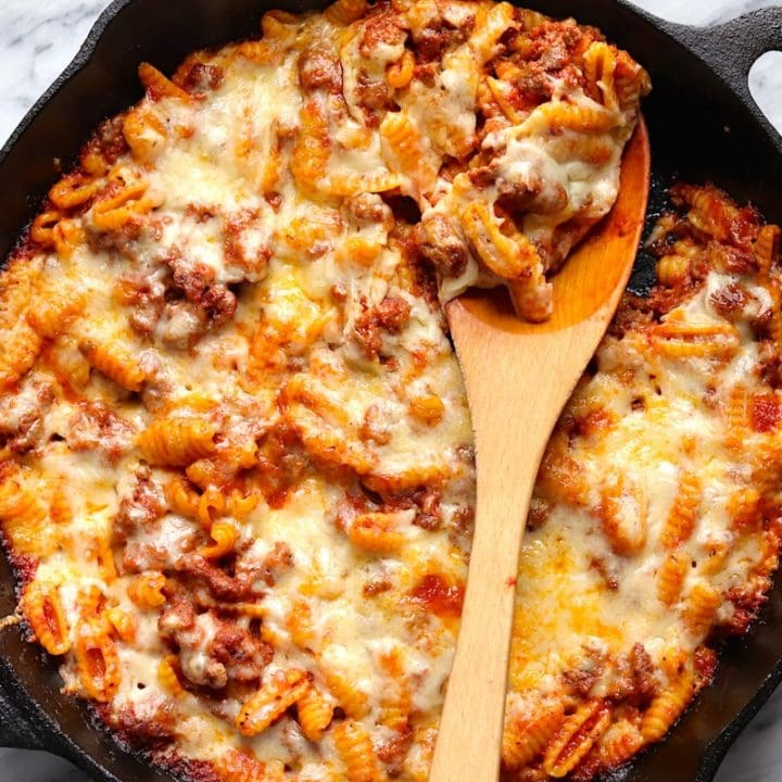 Cheesy Ground Beef Skillet Pasta Recipe The Hungry Hutch