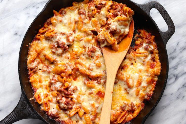 Cheesy Ground Beef Skillet Pasta Recipe